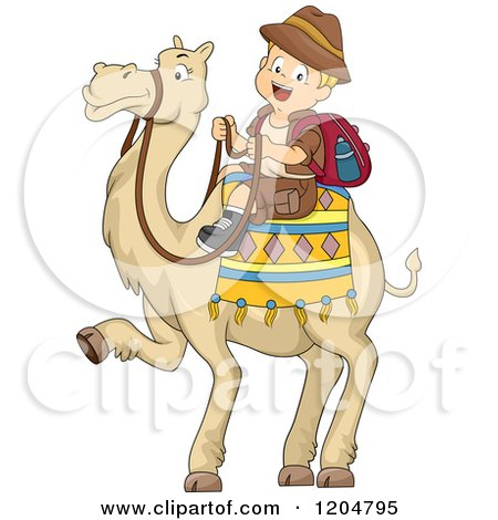 Cartoon of a Happy Blond White Explorer Boy Riding a Camel - Royalty Free Vector Clipart by BNP Design Studio