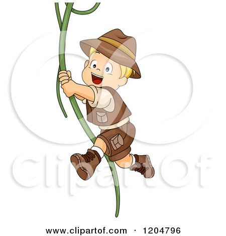 Cartoon of a Happy Blond White Explorer Boy Swinging on a Jungle Vine - Royalty Free Vector Clipart by BNP Design Studio