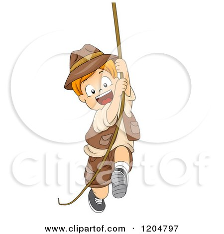 Cartoon of a Happy Red Haired White Explorer Boy Swinging on a Rope - Royalty Free Vector Clipart by BNP Design Studio