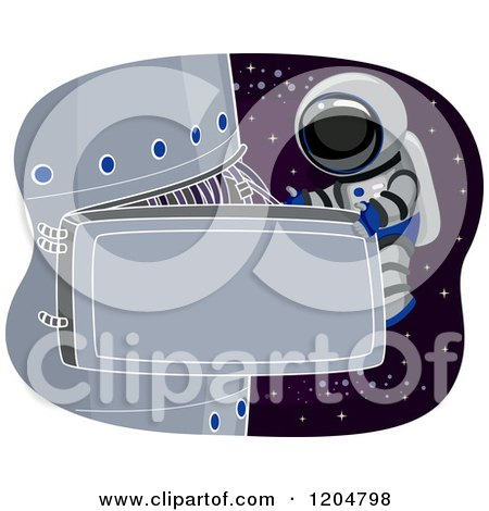 Cartoon of an Astronaut Performing Maintenance on a Space Station - Royalty Free Vector Clipart by BNP Design Studio