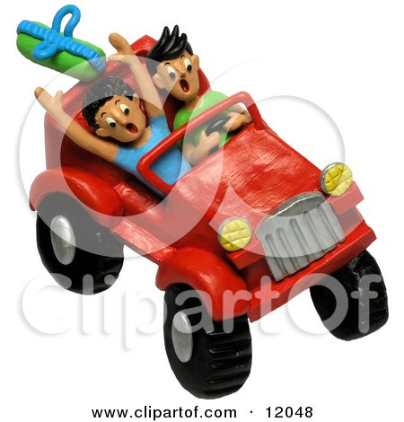 Clay Sculpture Clipart Teenagers Four Wheeling In A Jeep - Royalty Free 3d Illustration  by Amy Vangsgard