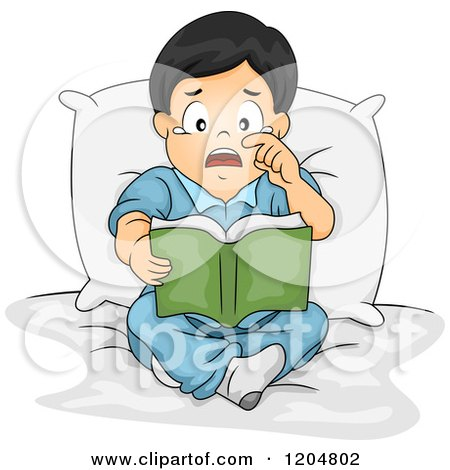 Cartoon of an Emotional Asian Boy Crying and Reading a Book - Royalty Free Vector Clipart by BNP Design Studio