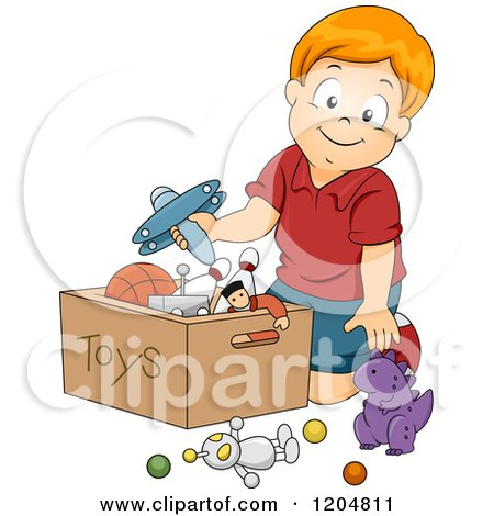 Cartoon of a Happy Red Haired White Boy Putting Toys in a Box - Royalty Free Vector Clipart by BNP Design Studio