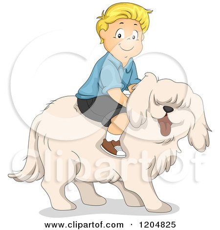 Cartoon of a Happy Blond White Boy Riding a Big Dog - Royalty Free Vector Clipart by BNP Design Studio