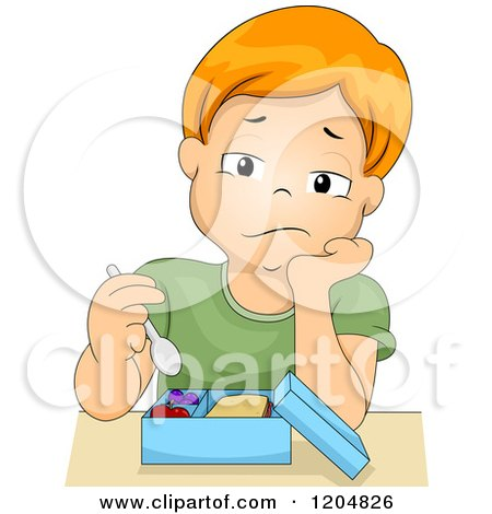 Cartoon of a bored red haired white boy eating his lunch - Cartoon girl sitting alone ...