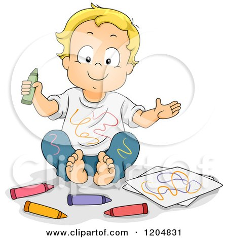 Cartoon of a Happy Blond White Boy Covered in Crayon Scribbles - Royalty Free Vector Clipart by BNP Design Studio
