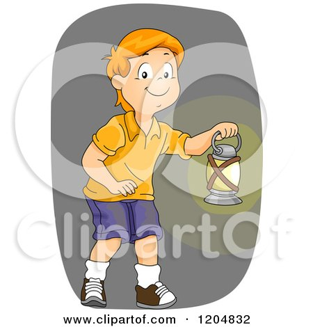 Cartoon of a Red Haired White Boy Carring a Kerosene Lamp - Royalty Free Vector Clipart by BNP Design Studio