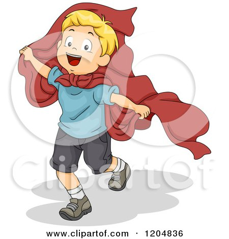 Cartoon of a Happy Blond White Boy Playing Super Hero with a Cape - Royalty Free Vector Clipart by BNP Design Studio
