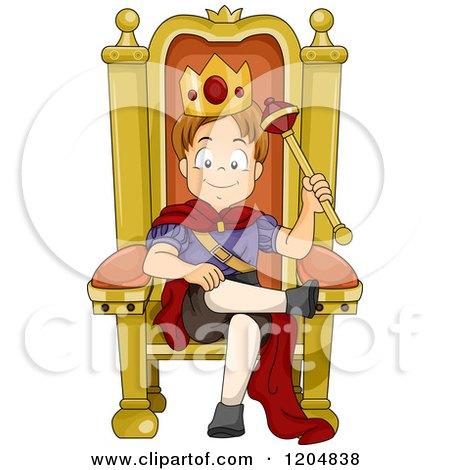 Cartoon of a Happy White Boy Prince Sitting on a Throne - Royalty Free Vector Clipart by BNP Design Studio
