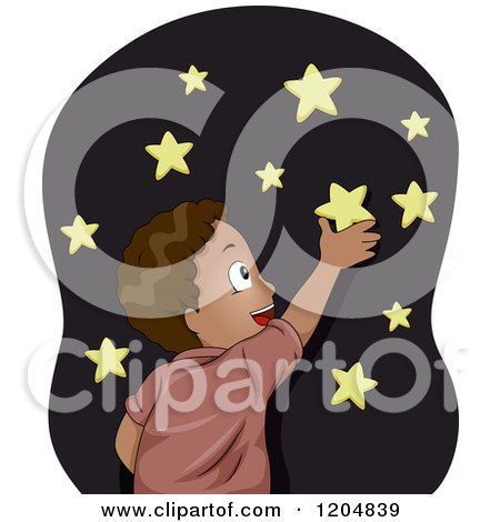 Cartoon of a Happy Black Boy Sticking Glow in the Dark Stars on His Wall - Royalty Free Vector Clipart by BNP Design Studio