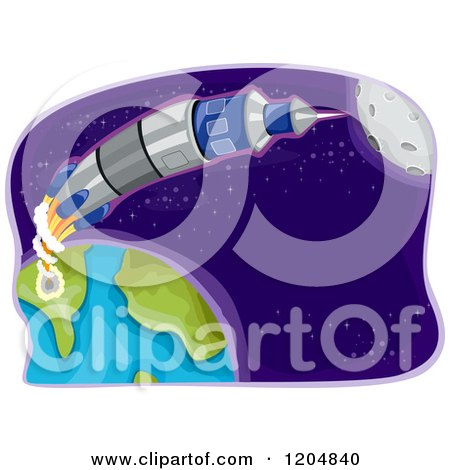 Cartoon of a Space Rocket Shooting from Earth - Royalty Free Vector Clipart by BNP Design Studio