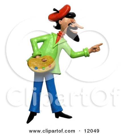Clay Sculpture Clipart French Artist Pointing And Holding A Palette - Royalty Free 3d Illustration  by Amy Vangsgard