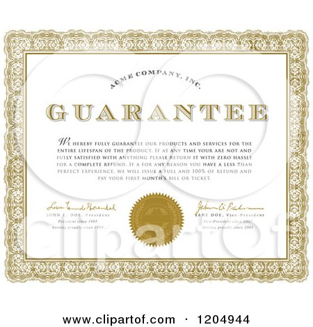 Royalty free stock illustrations of certificates by bestvector page 1 golden ornate frame around a sample text quality guarantee certificate yadclub Gallery
