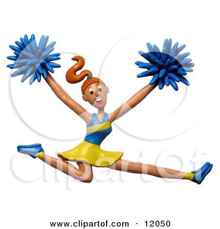 3d Energetic Leaping Cheerleader Posters, Art Prints