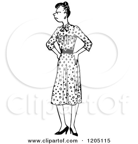 Clipart of a Vintage Black and White Annoyed Woman with Her Hands on Her Hips - Royalty Free Vector Illustration by Prawny Vintage