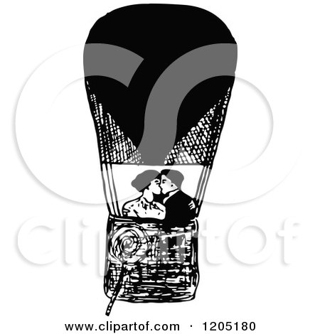 Clipart of a Vintage Black and White Couple Kissing in a Hot Air Balloon - Royalty Free Vector Illustration by Prawny Vintage