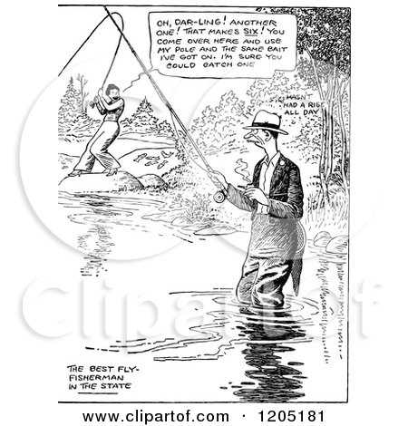 Clipart of a Vintage Black and White Couple Fishing - Royalty Free Vector Illustration by Prawny Vintage
