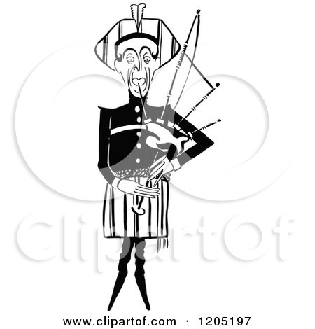Cartoon of a Vintage Black and White Man Playing Babpipes - Royalty Free Vector Clipart by Prawny Vintage
