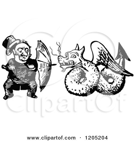 Clipart of a Vintage Black and White Man Defending Himself with an Umbrella Against a Dragon - Royalty Free Vector Illustration by Prawny Vintage