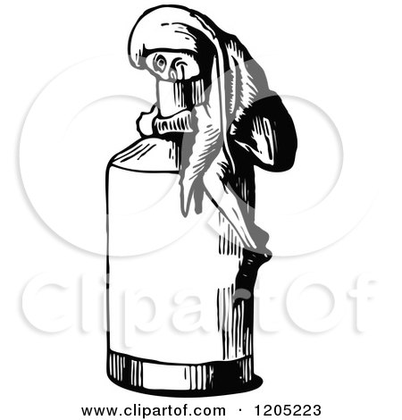 Clipart of a Vintage Black and White Man Looking in a Bottle - Royalty Free Vector Illustration by Prawny Vintage