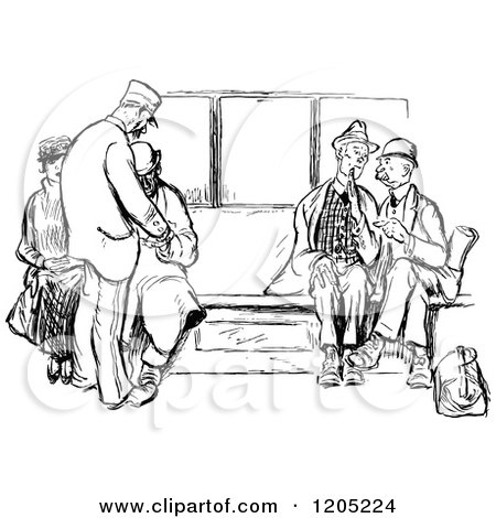 Clipart of a Vintage Black and White Group of Passengers ...  Clipart of a Vi...