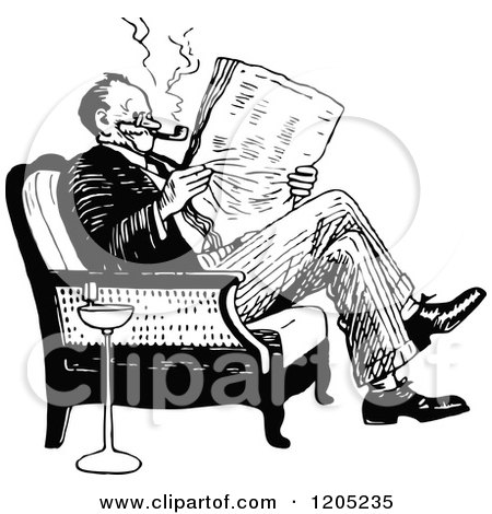 Cartoon of a Vintage Black and White Man Reading a ...