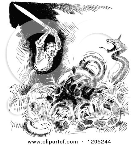 Clipart of a Vintage Black and White Dragon Slayer - Royalty Free Vector Illustration by Prawny Vintage