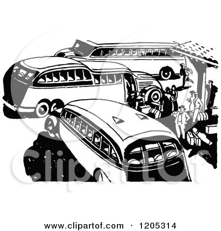 Clipart of a Vintage Black and White Bus Station - Royalty Free Vector Illustration by Prawny Vintage