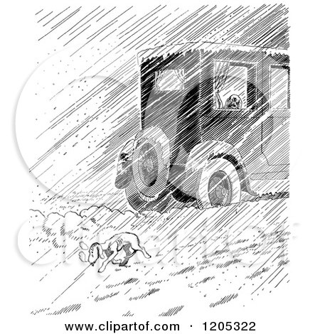 Cartoon of a Vintage Black and White Car Passing a Homeless Dog in Rain or Snow - Royalty Free Vector Clipart by Prawny Vintage