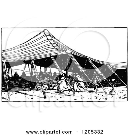 Cartoon of a Vintage Black and White Arab Tent - Royalty Free Vector Clipart by Prawny Vintage
