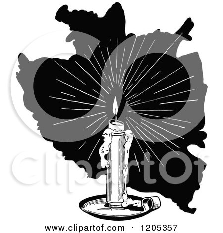 Clipart of a Vintage Black and White Candle - Royalty Free Vector Illustration by Prawny Vintage