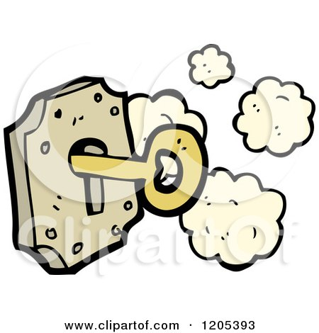 Cartoon of a Lock and Key - Royalty Free Vector Illustration by lineartestpilot