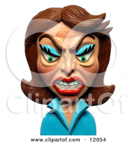 Clay Sculpture Clipart Angry Brunette Woman - Royalty Free 3d Illustration  by Amy Vangsgard