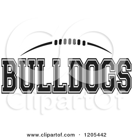 Clipart of a Black And White American Football and BULLDOGS Team Text - Royalty Free Vector Illustration by Johnny Sajem