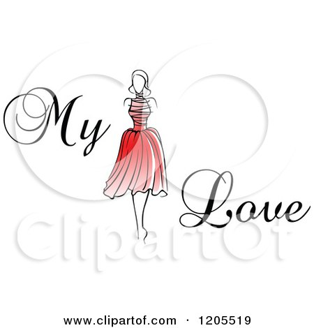 Clipart of My Love Text with a Woman in a Red Dress - Royalty Free Vector Illustration by Vector Tradition SM