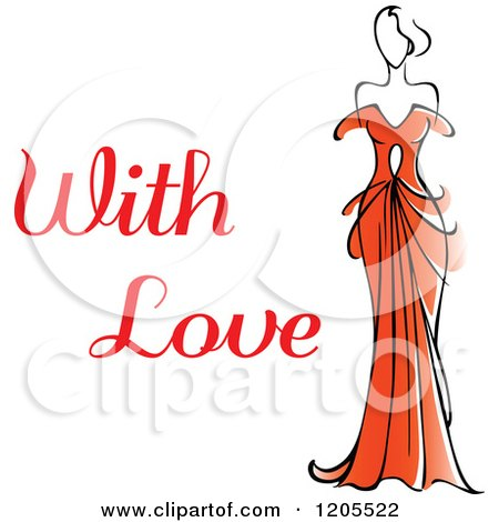 Clipart of with Love Text with a Woman in a Red Dress - Royalty Free Vector Illustration by Vector Tradition SM