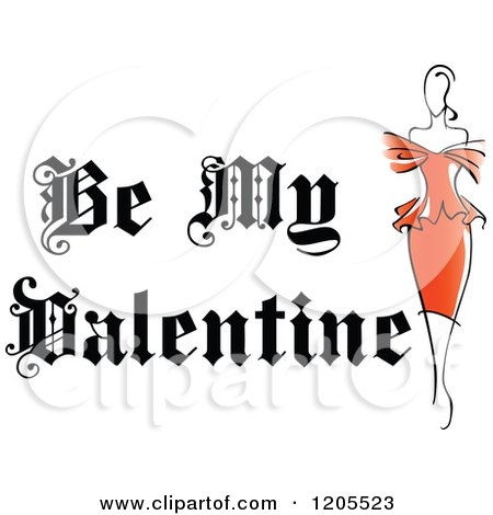 Clipart of Be My Valentine Text with a Woman in a Red Dress - Royalty Free Vector Illustration by Vector Tradition SM