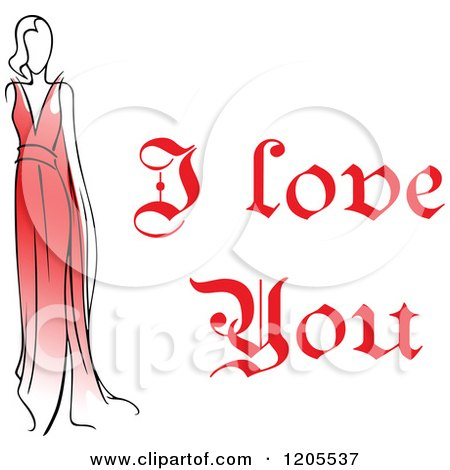 Clipart of Red I Love You Text with a Woman in a Red Dress - Royalty Free Vector Illustration by Vector Tradition SM