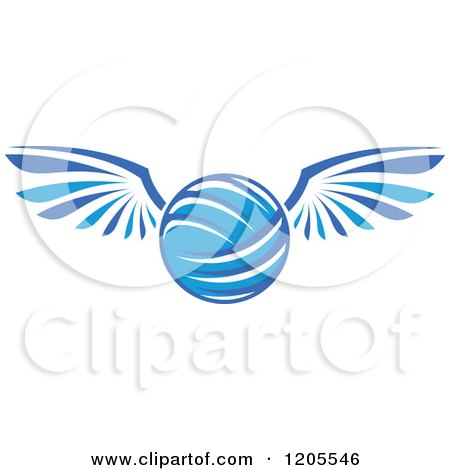 Clipart of a Blue Volleyball with Wings - Royalty Free Vector Illustration by Vector Tradition SM