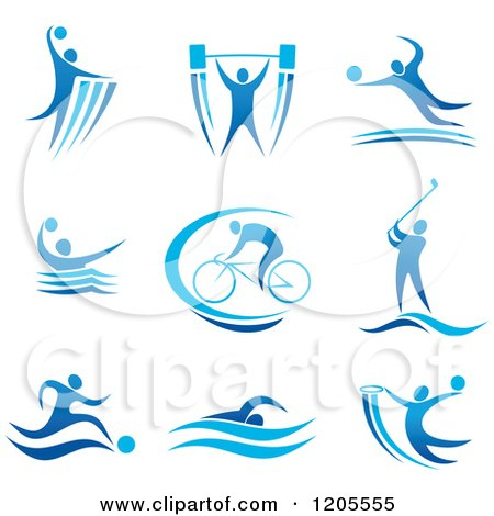 Clipart of a Blue Athletic Man Engaged in Different Sports - Royalty Free Vector Illustration by Vector Tradition SM