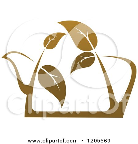 Clipart of a Tea Pot of Brown Tea or Coffee with Leaves - Royalty Free Vector Illustration by Vector Tradition SM