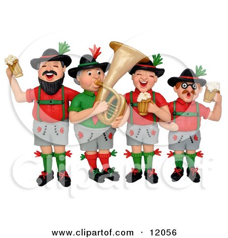 3d German Oktoberfest Band With Beer Posters, Art Prints
