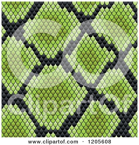 Clipart of a Seamless Green and Black Snake Skin Pattern 2 - Royalty Free Vector Illustration by Vector Tradition SM