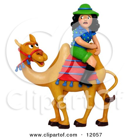 Clay Sculpture Clipart Scared Tourist Woman Sitting Backwards On A Camel - Royalty Free 3d Illustration  by Amy Vangsgard