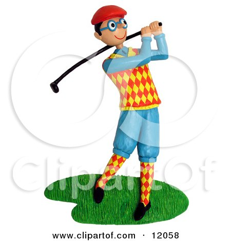Clay Sculpture Clipart Dorky Golfer Swinging His Club - Royalty Free 3d Illustration  by Amy Vangsgard