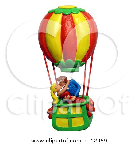 Clay Sculpture Clipart Couple Making Out In A Hot Air Balloon - Royalty Free 3d Illustration  by Amy Vangsgard