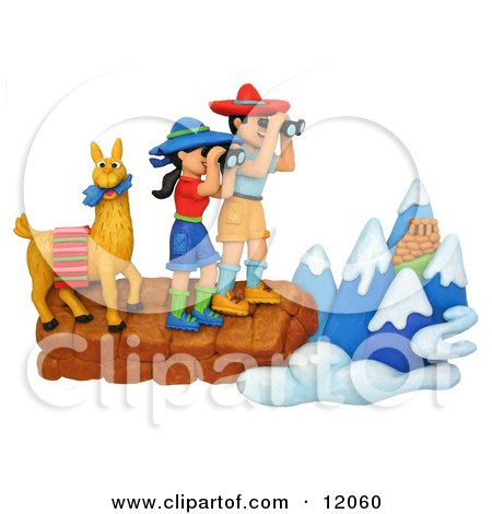 Clay Sculpture Clipart Hiker Couple And Llama Viewing The Andes - Royalty Free 3d Illustration  by Amy Vangsgard
