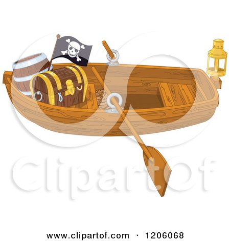 Cartoon of a Wooden Pirate Row Boat with a Treasure Chest and Flag - Royalty Free Vector Clipart by Pushkin