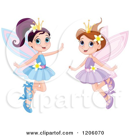 Happy Fairy Princesses in Blue and Purple Dresses Posters, Art Prints