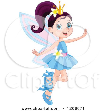 Happy Fairy Princess in a Blue Dress Posters, Art Prints